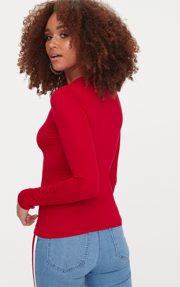 Basic Red Long sleeve Fitted T Shirt 2