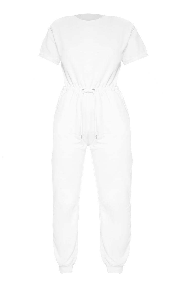 White Short Sleeve Sweat Jumpsuit  3