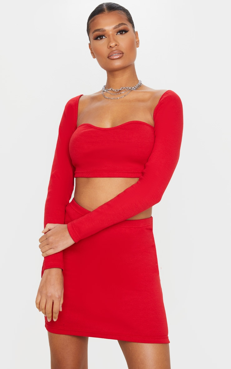 Red Structured Rib Sweetheart Neck Crop Top 1