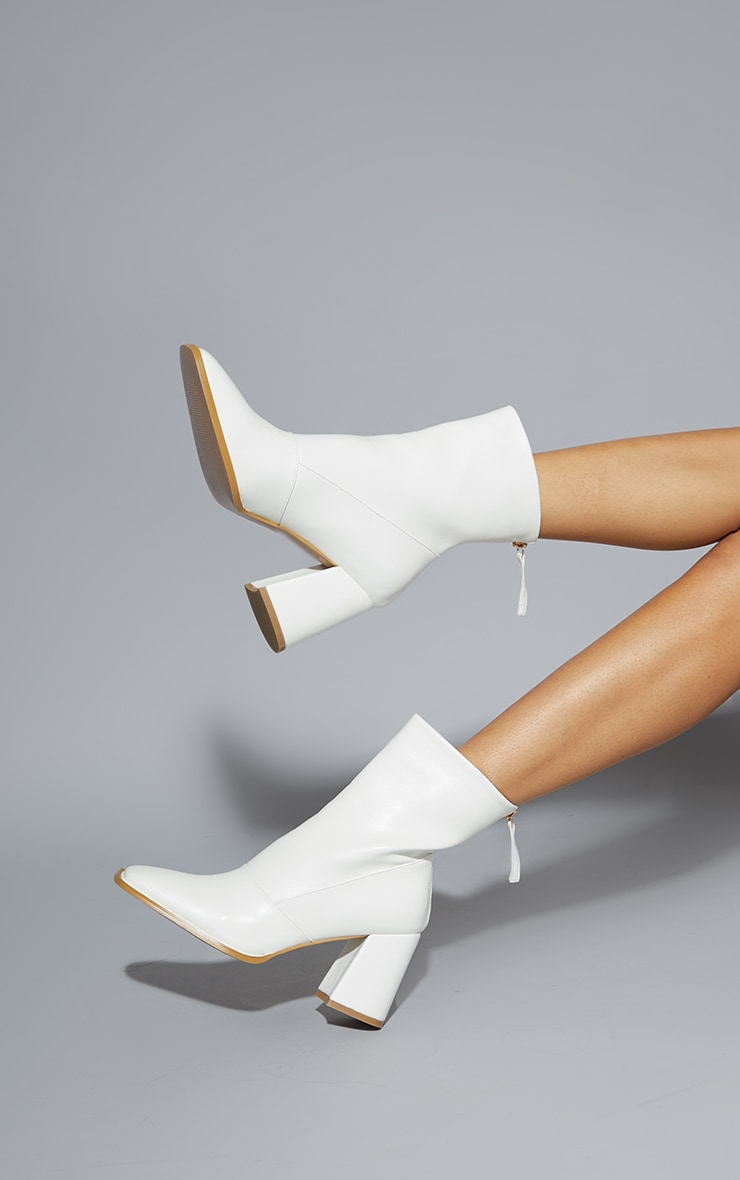 White Square Toe Panel Flare Low Block Heel Ankle Boots 1