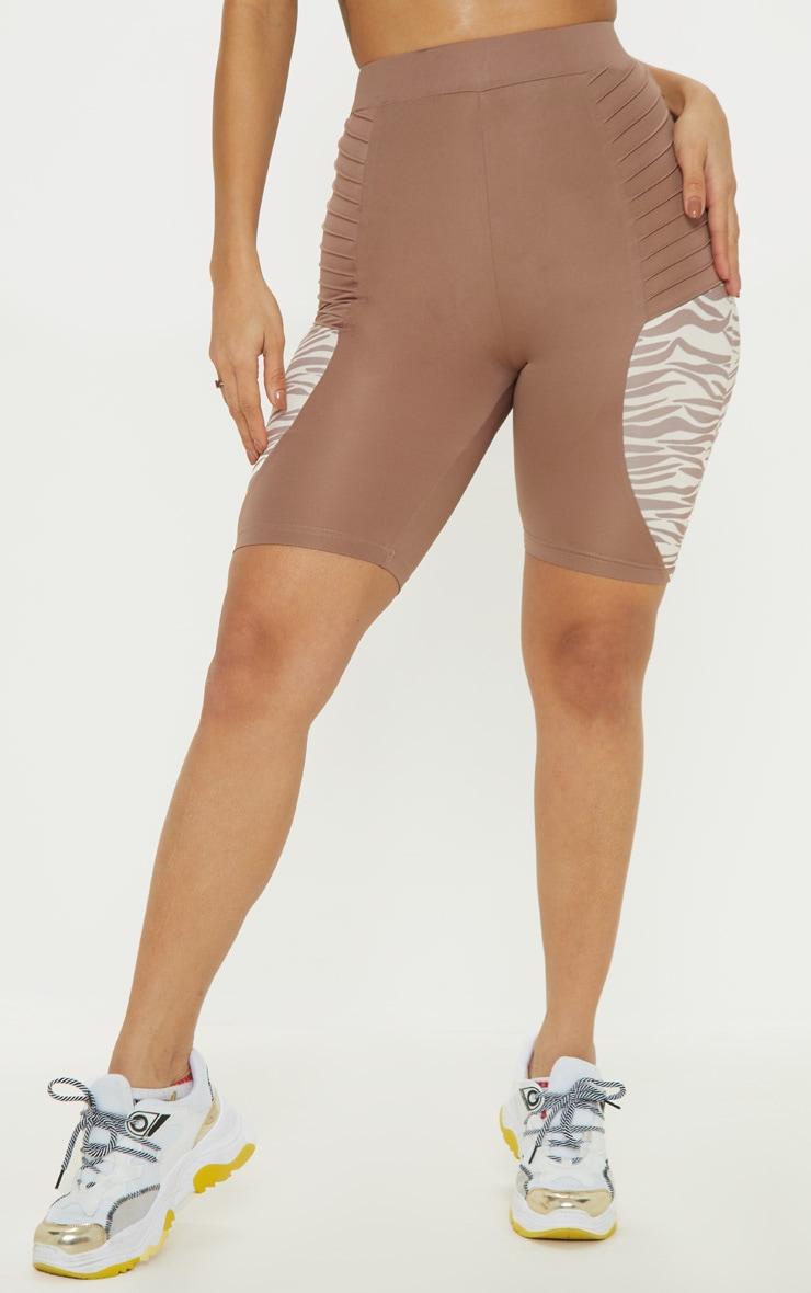 Zebra Ribbed Panelled Cycle Shorts 2