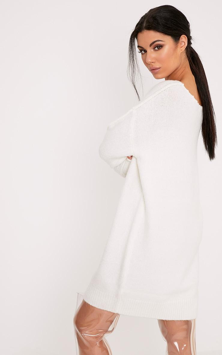 Selah Cream Oversized Seam Detail Brushed Jumper Dress 2