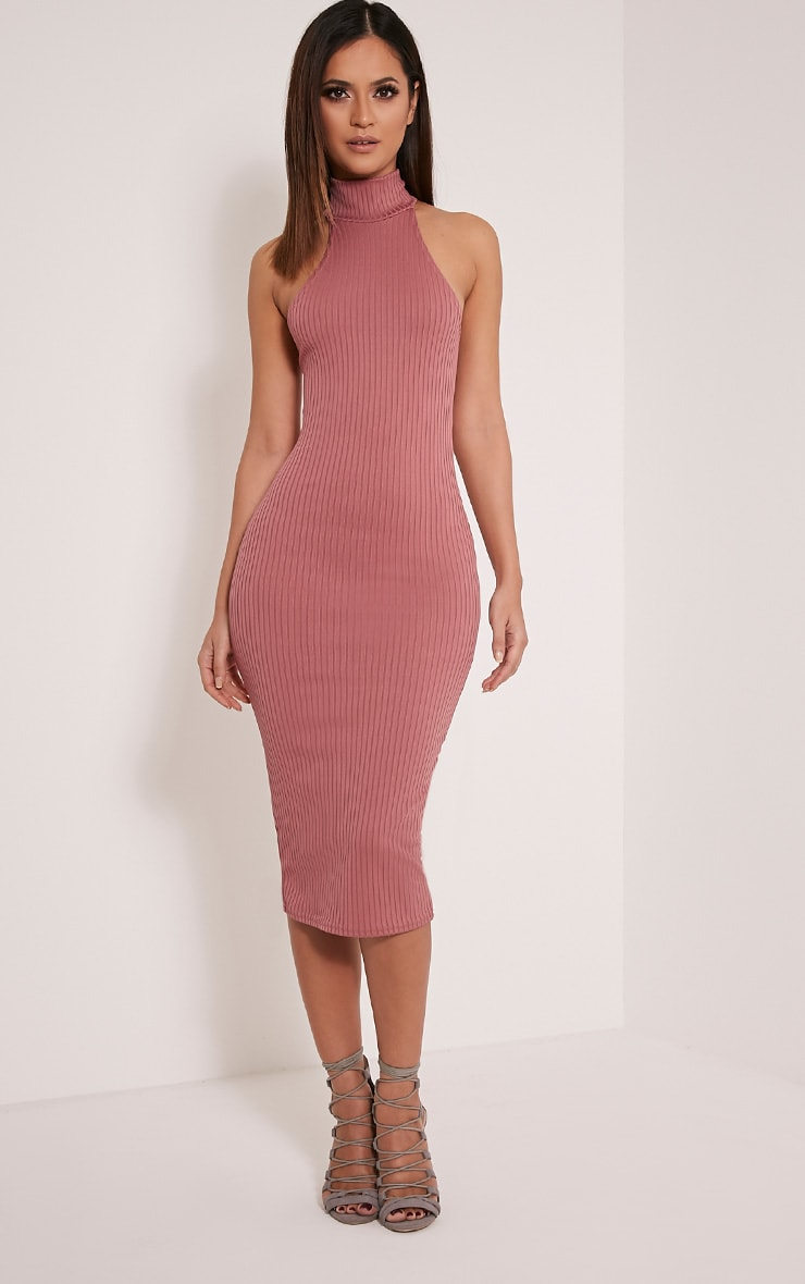 Pearla Rose Racer Neck Ribbed Midi Dress 1