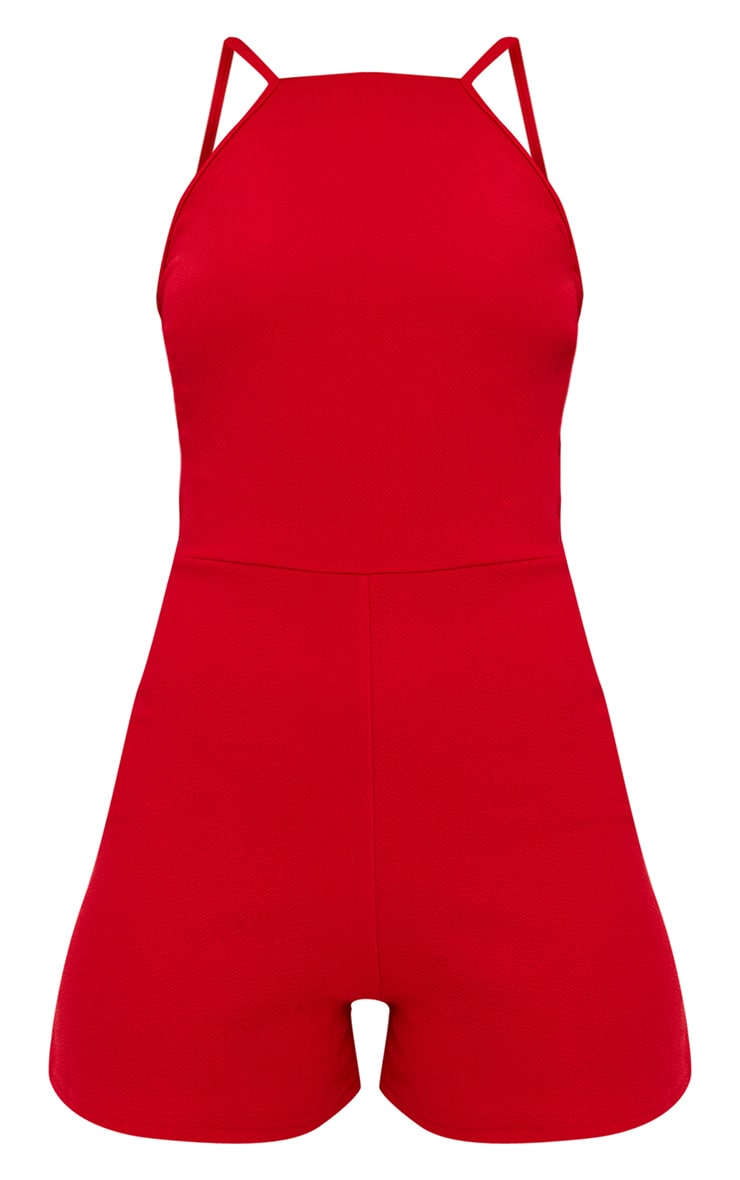 Red 90s Neck Playsuit  3