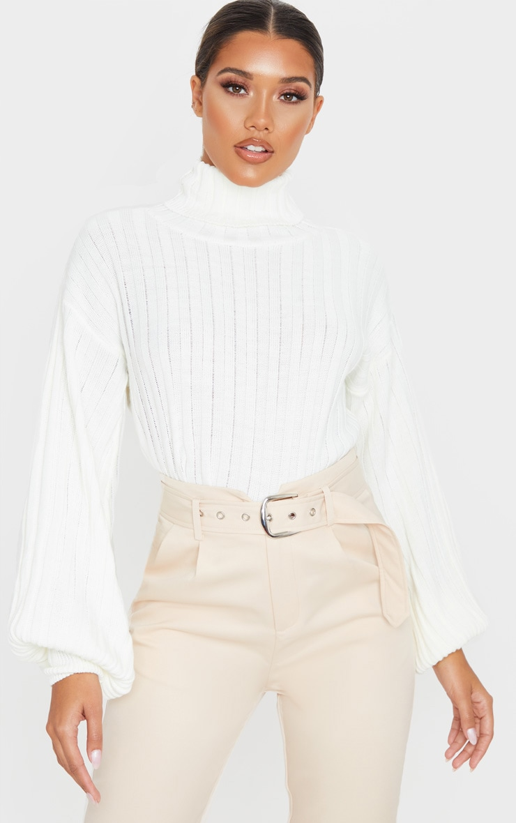Ivory Balloon Sleeve Roll Neck Ribbed Sweater 1