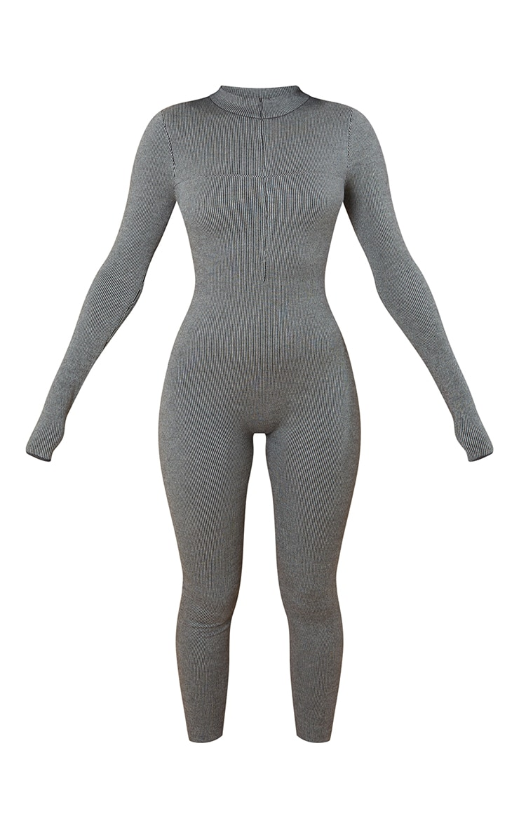 Charcoal Zip Up Knitted Jumpsuit 5