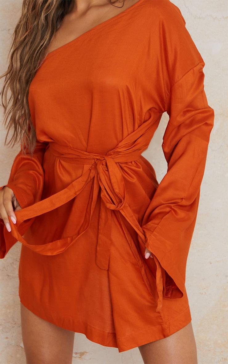 Terracotta One Shoulder Tie Wrap Detail Shift Dress 4