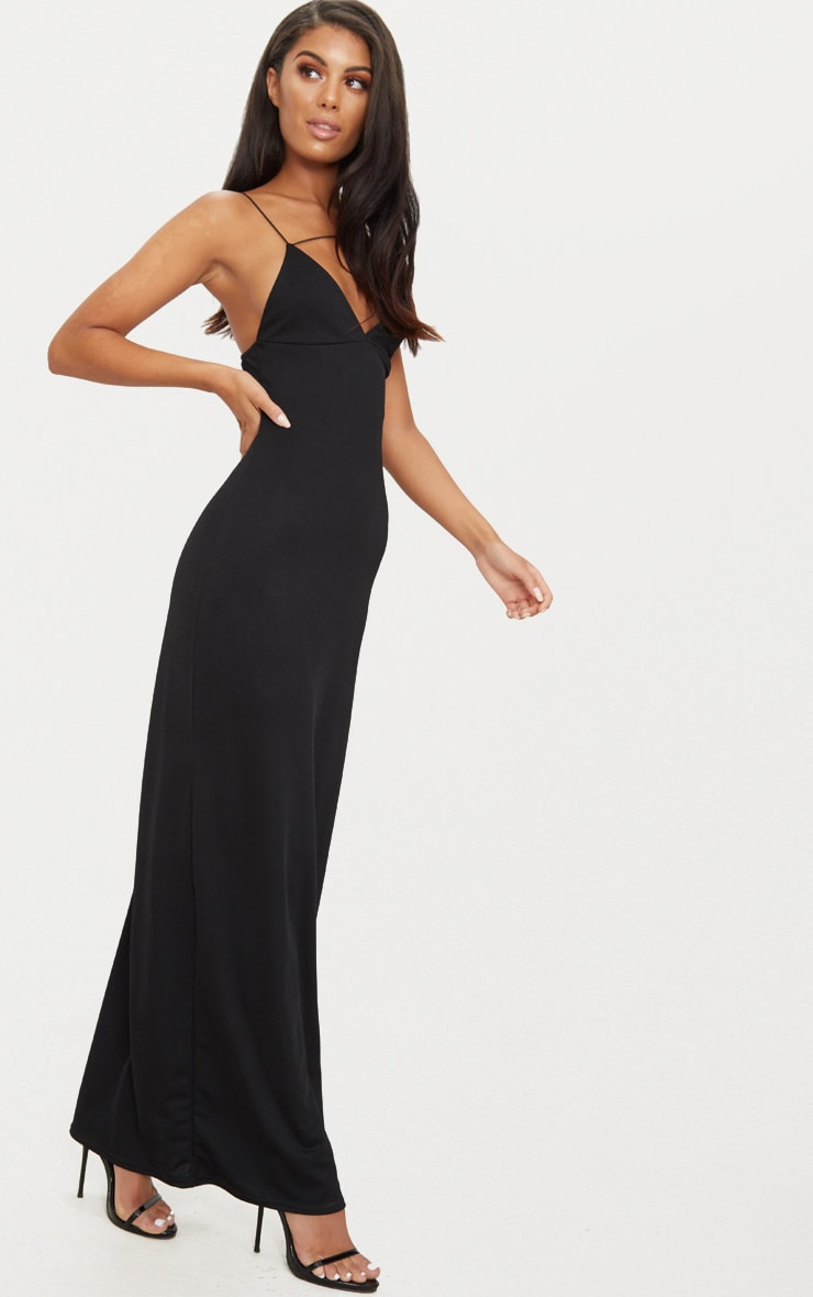 Black Strappy Detail Plunge Maxi Dress 3