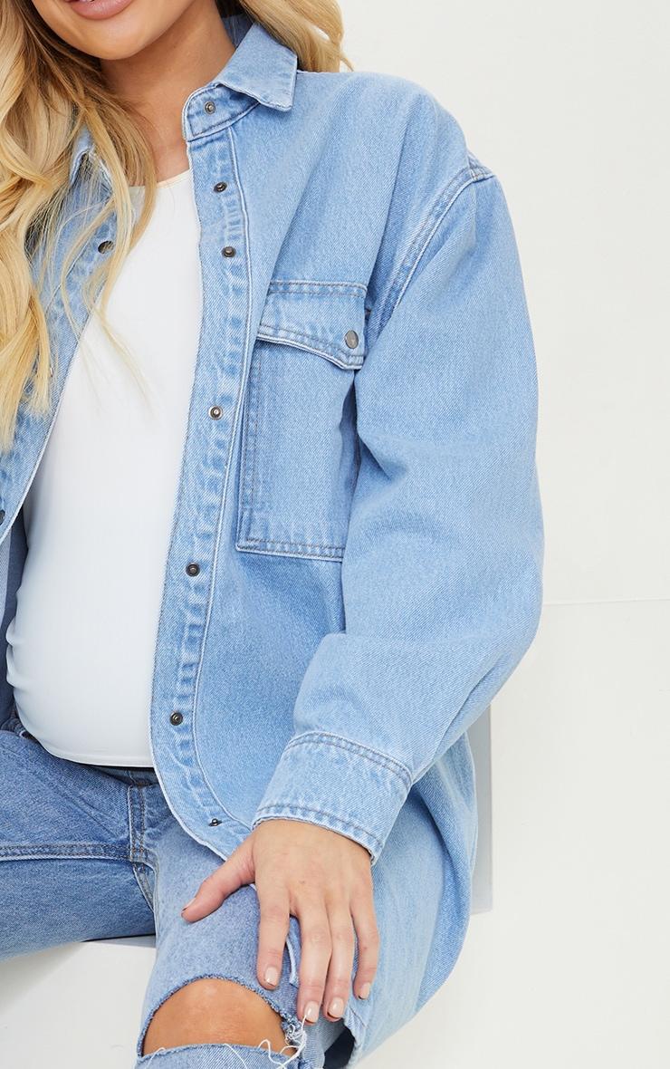Maternity Blue Oversized Denim Shirt 4