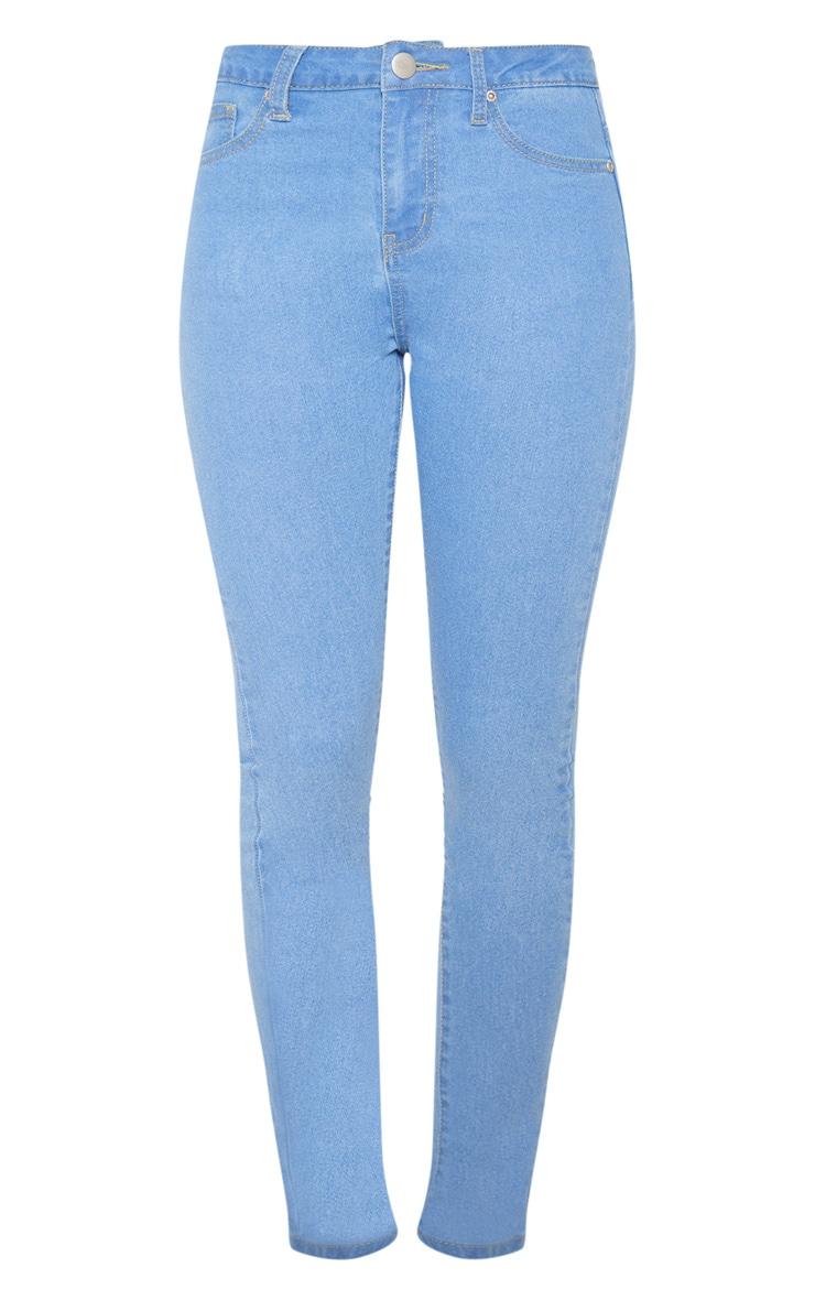 Jean skinny basique taille haute à 5 poches très délavé 3