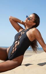 Black Lace Up Front Swimsuit 1