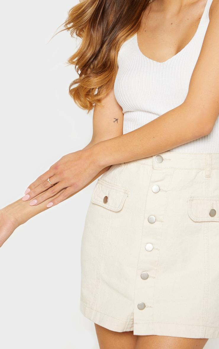 Ecru Pocket Detail Button Through Skirt 7