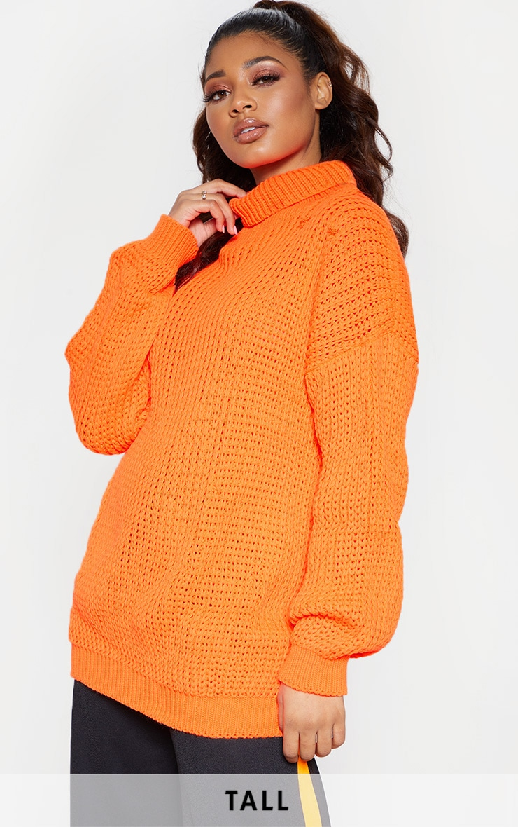 999523929 Tall Neon Orange Roll Neck Oversized Chunky Knit Jumper image 1
