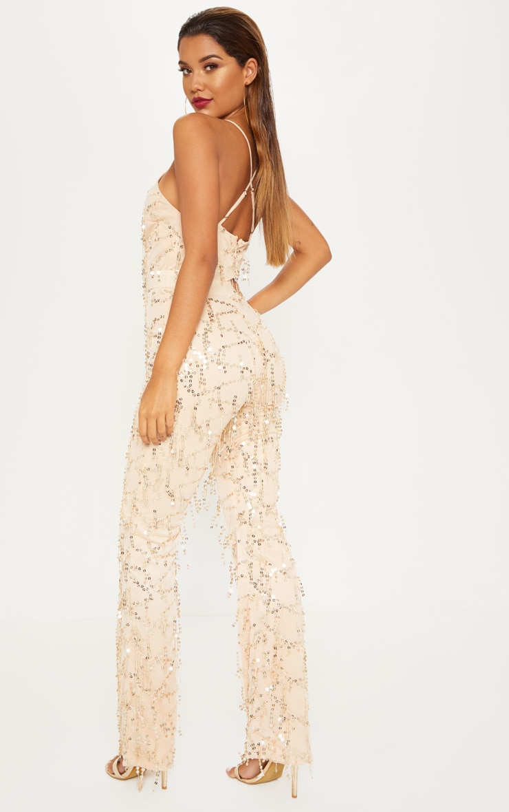 Gold Sequin Plunge Satin Waist Jumpsuit