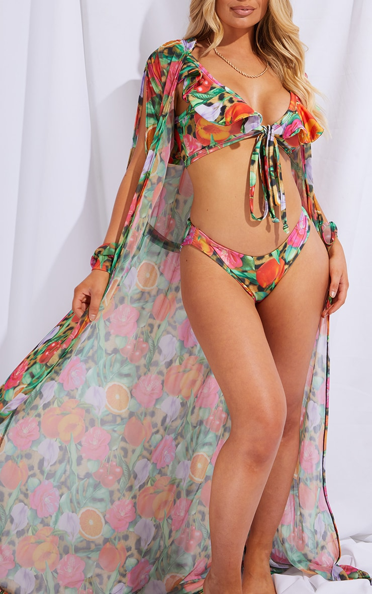 Leopard Fruit Print Cut Out Sleeve Belted Maxi Beach Kimono 4