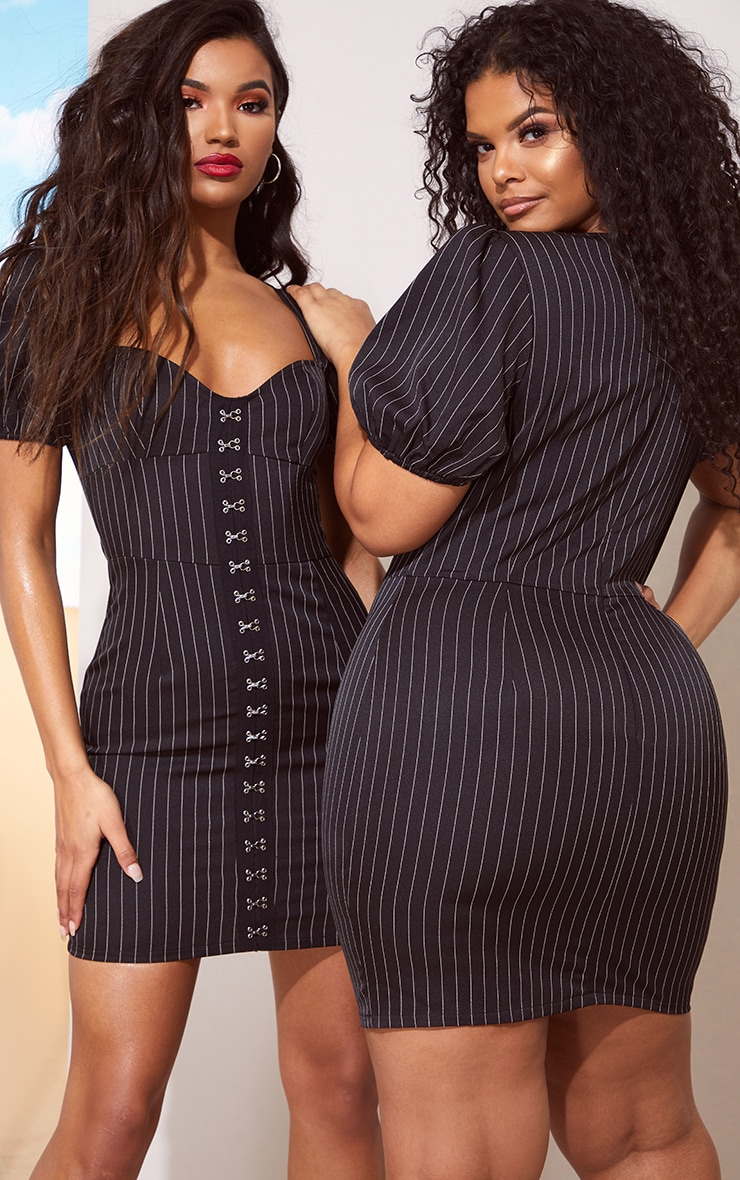 Black Pinstripe Puff Sleeve Bodycon Dress 7