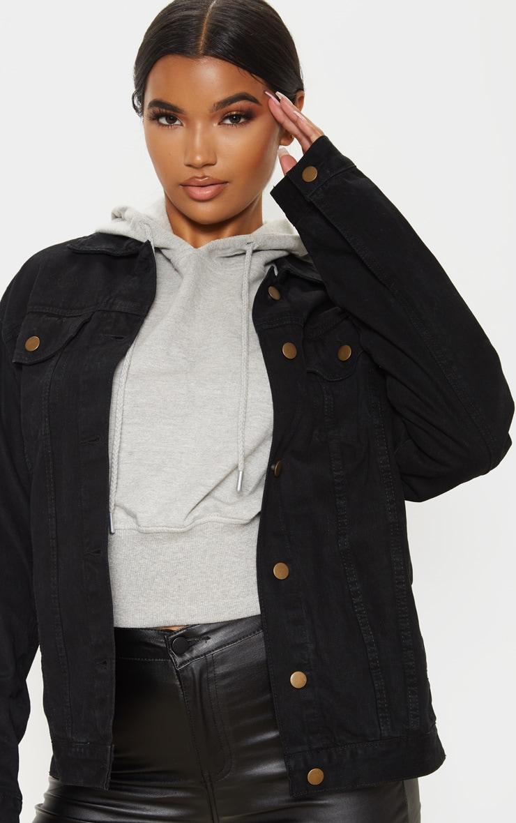 Black Oversized Boyfriend Denim Jacket 5