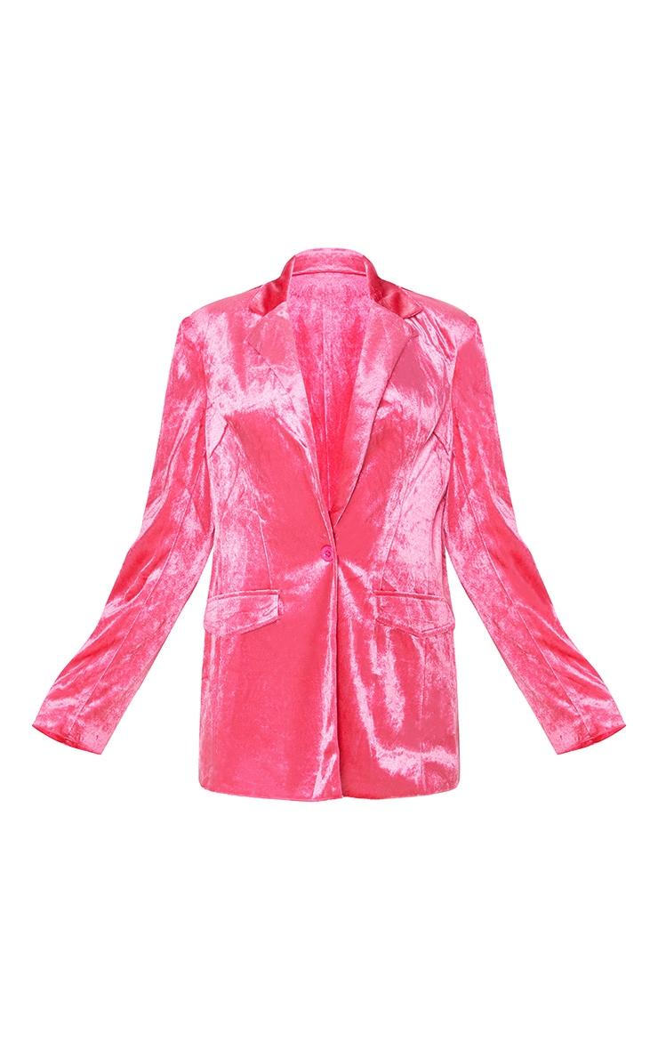 Hot Pink Longline Velvet Blazer 3
