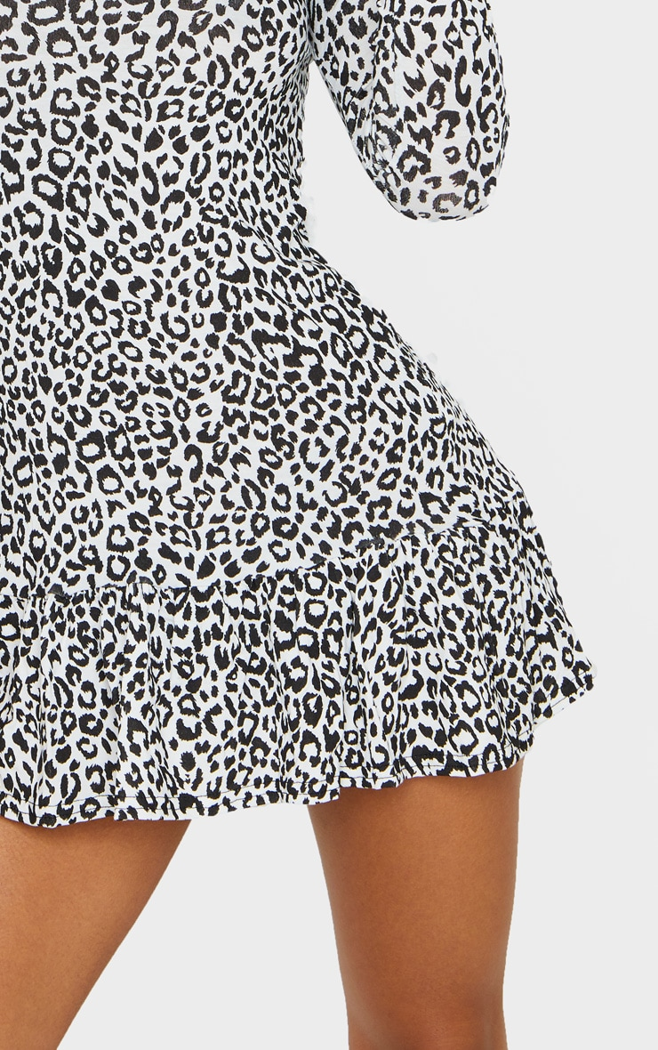 Monochrome Leopard Print Long Sleeve Frill Hem Shift Dress 4