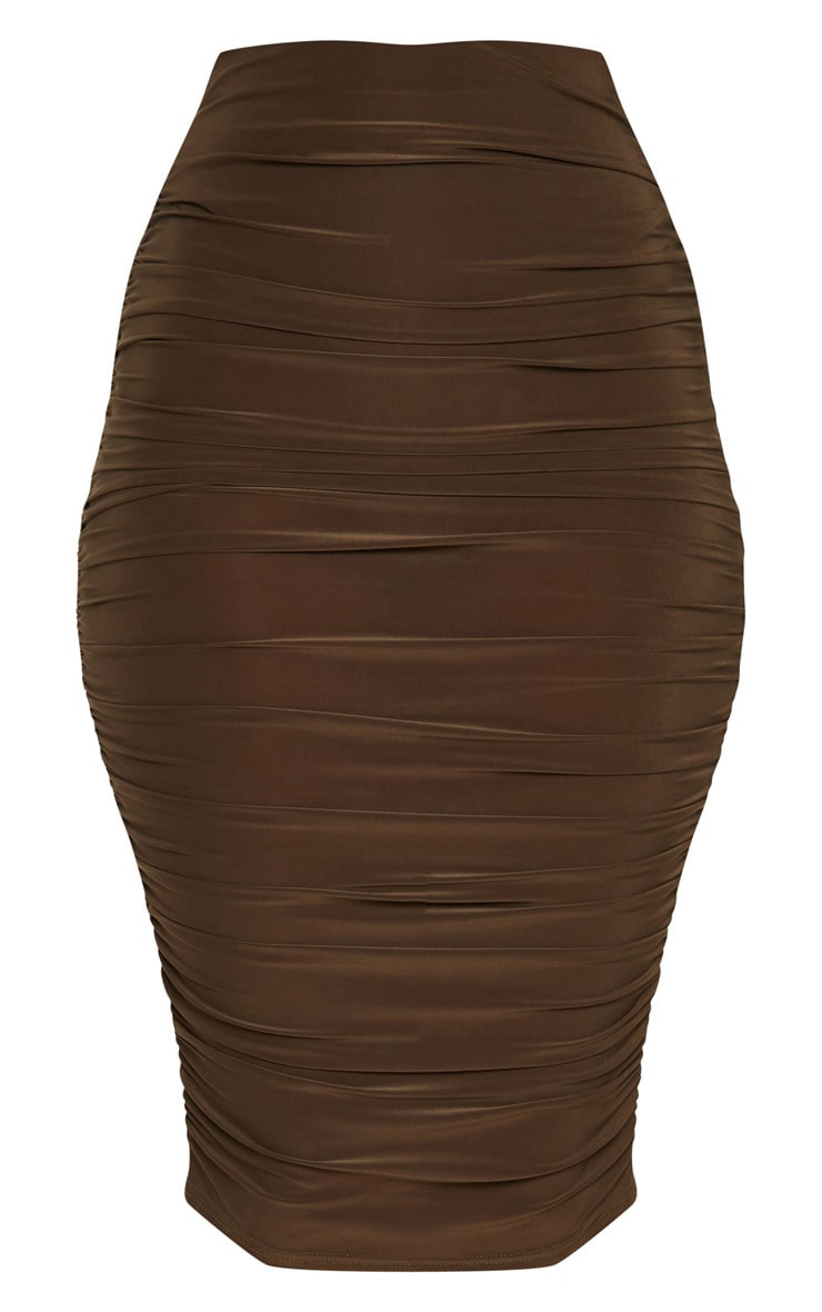 Khaki Second Skin Ruched Side Midi Skirt 3