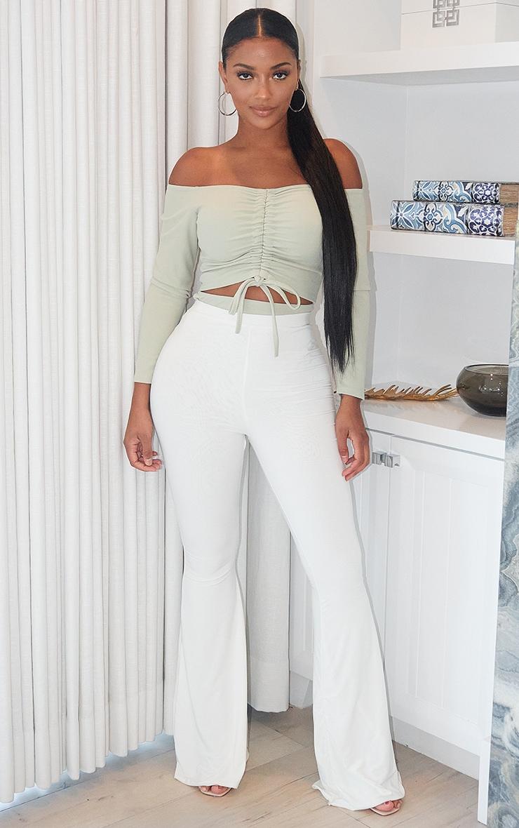 Shape Sage Green Ruched Detail Bardot Bodysuit 3