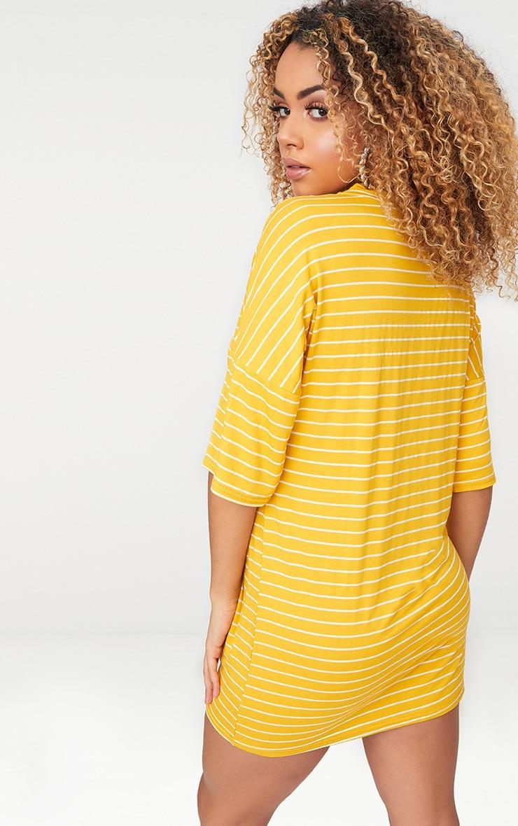 Mustard Striped Oversized T Shirt Dress 2