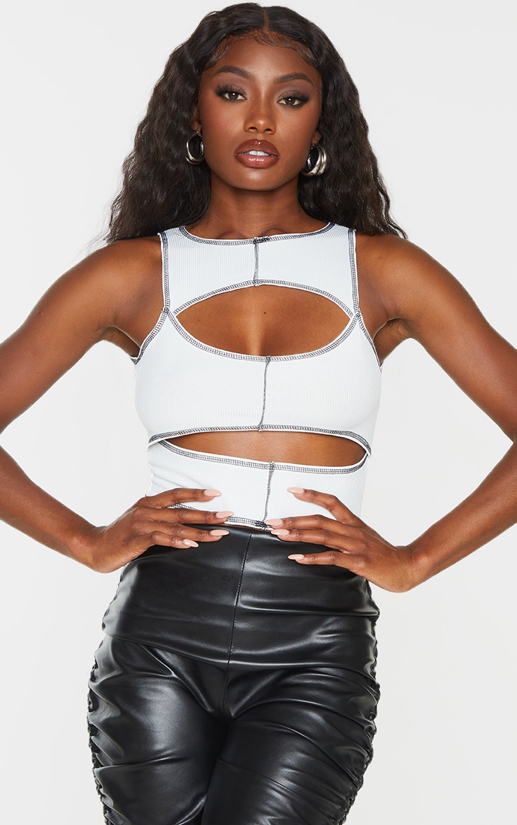 White Rib Contrast Stitch Cut Out Sleeveless Crop Top 1