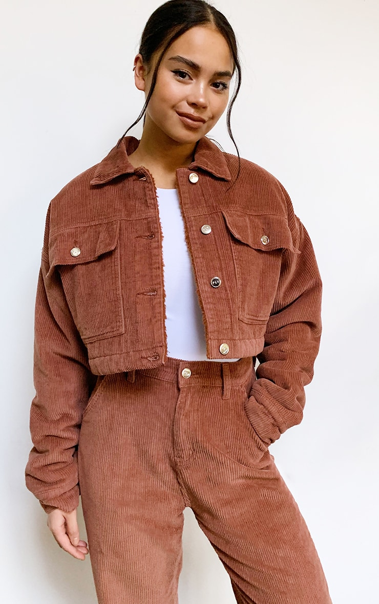 Rust Cord Borg Lined Cropped Trucker Jacket 1