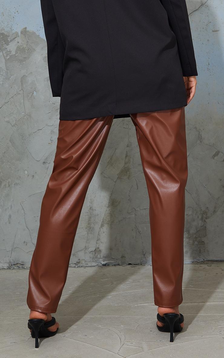 Maternity Tan Faux Leather Split Hem Trousers 3