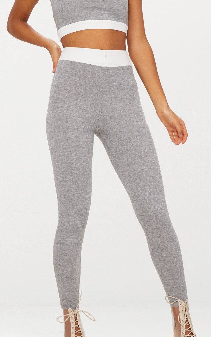 Grey Contrast Waist Band Leggings  5