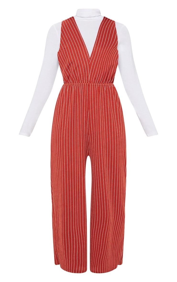 Rust Stripe V Strap Culotte Jumpsuit 3