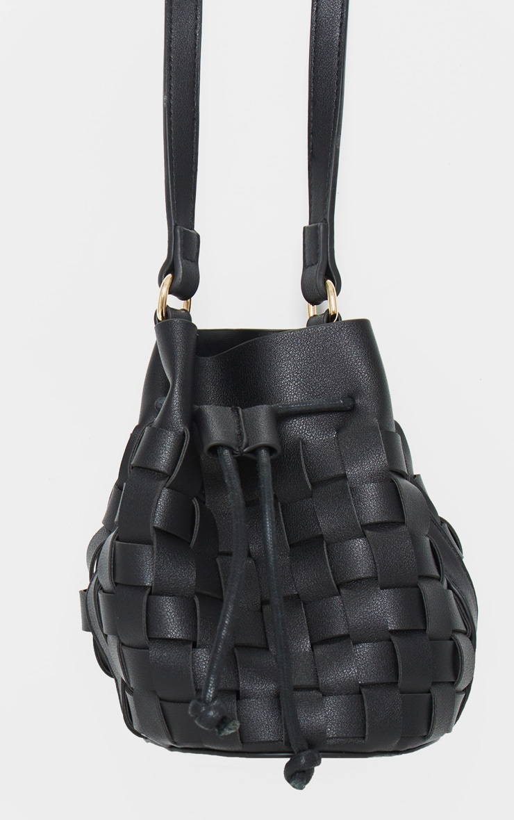Black Weave Cross Body Bag 2