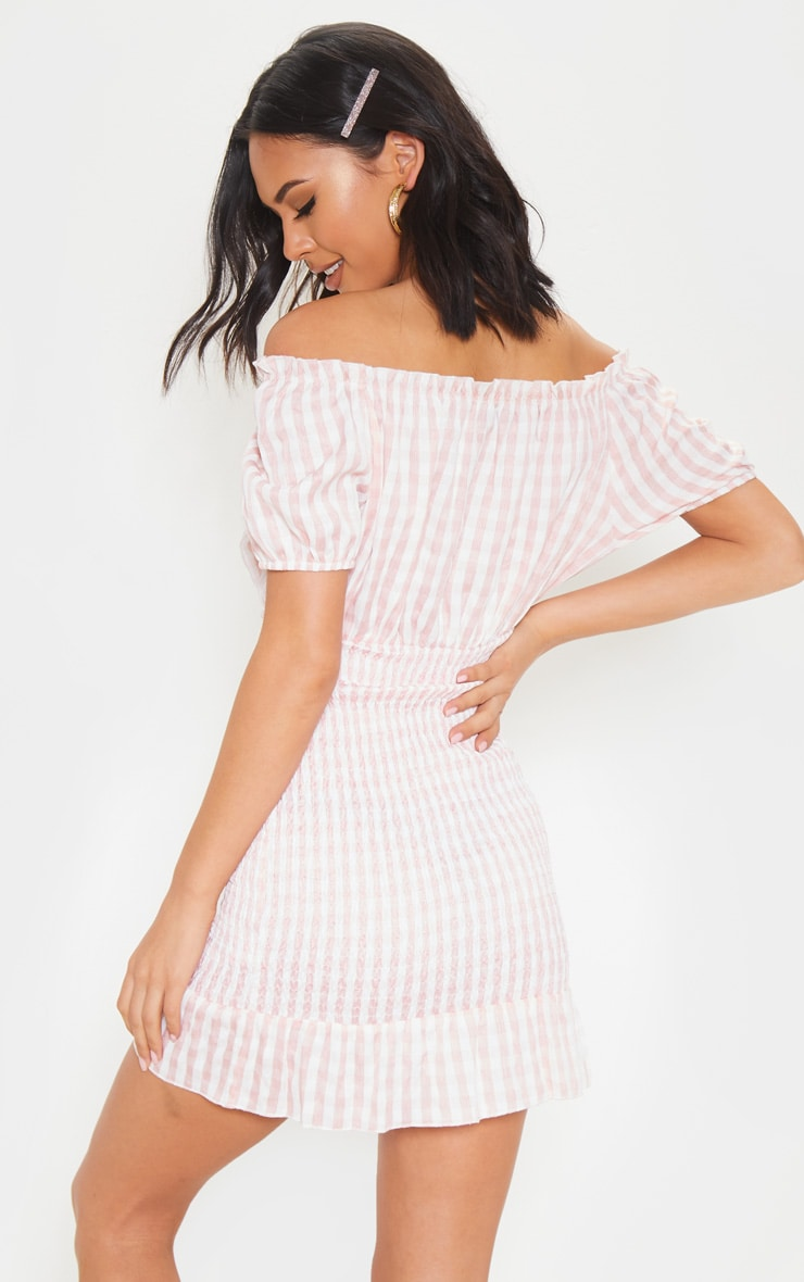 Pink Gingham Shirred Bardot Bodycon Dress 2