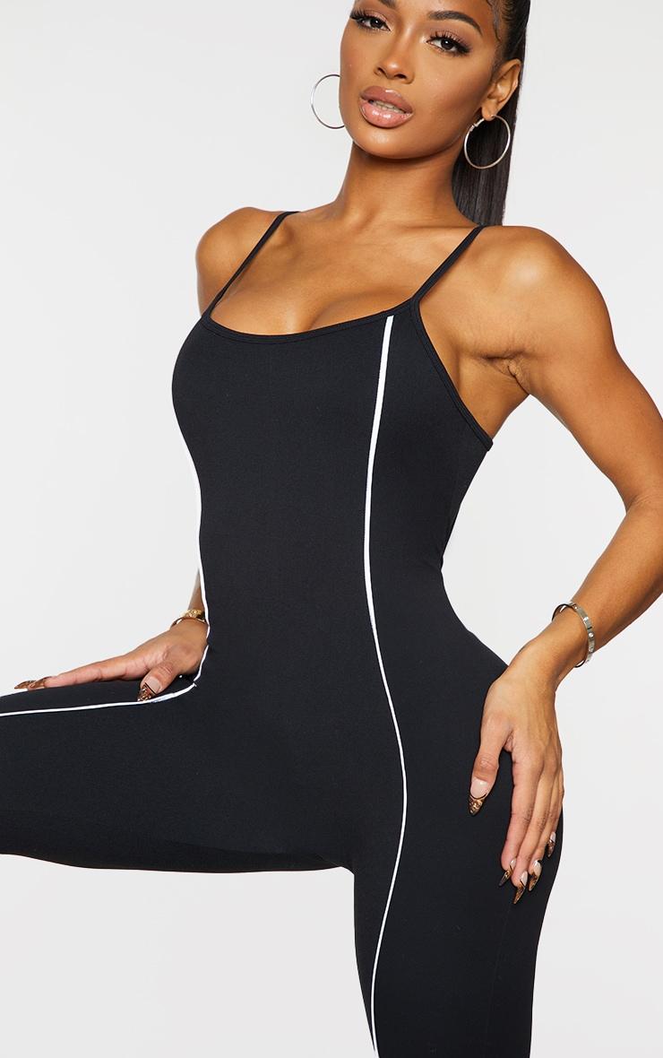 Shape Black Binding Detail Scoop Neck Sports Jumpsuit 4