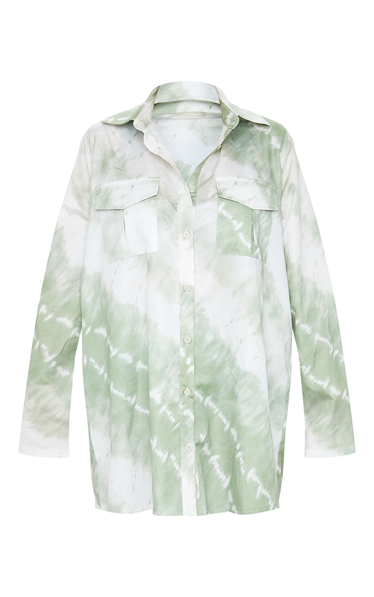 Plus Khaki Tie Dye Oversized Shirt 5