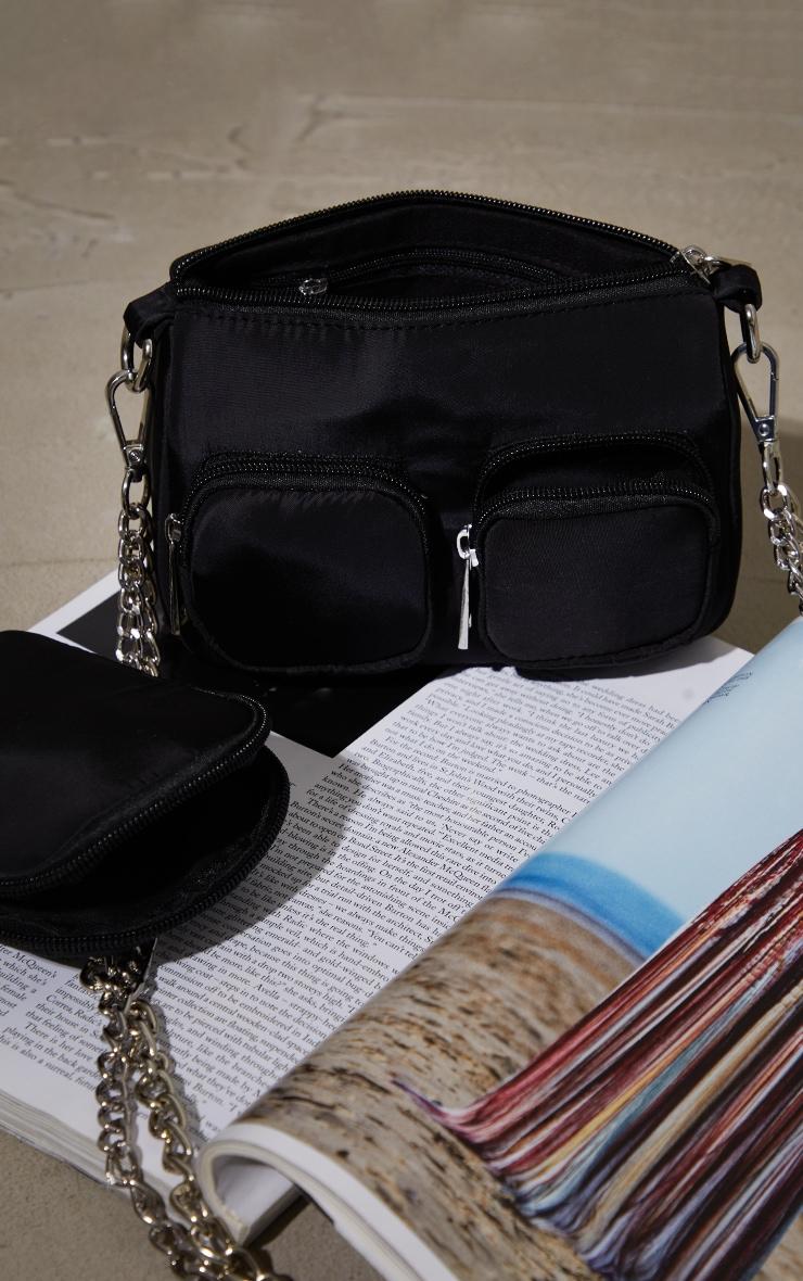 Black Nylon Silver Chain Multi Pocket Cross Body Bag 4
