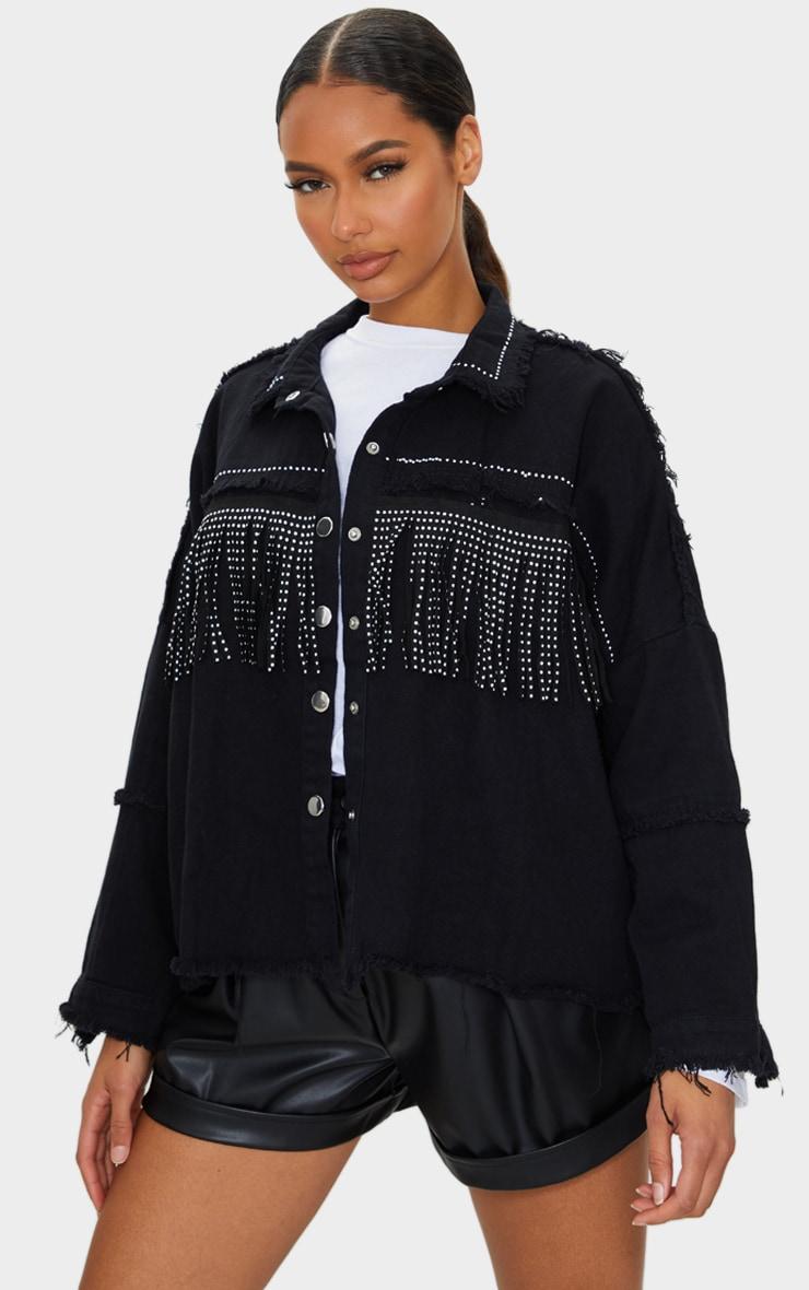 Black Fringe Studded Denim Shacket 1