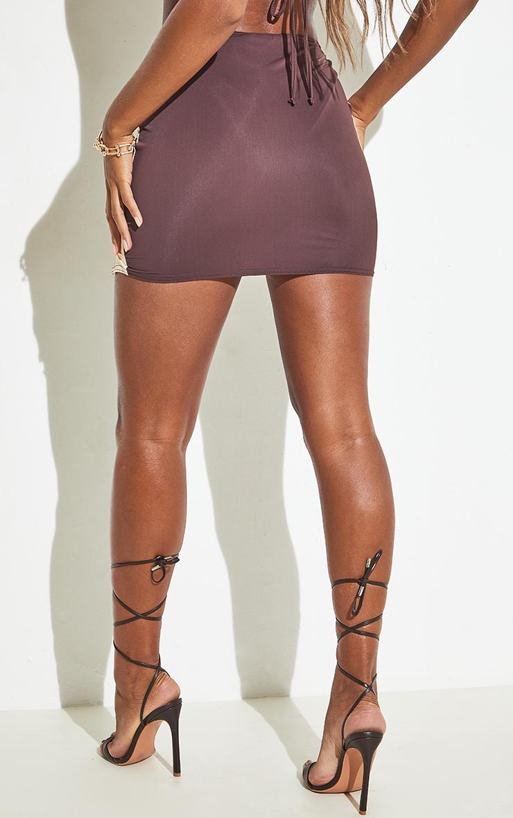 Chocolate Cut Out Ring Detail Mini Beach Skirt 6