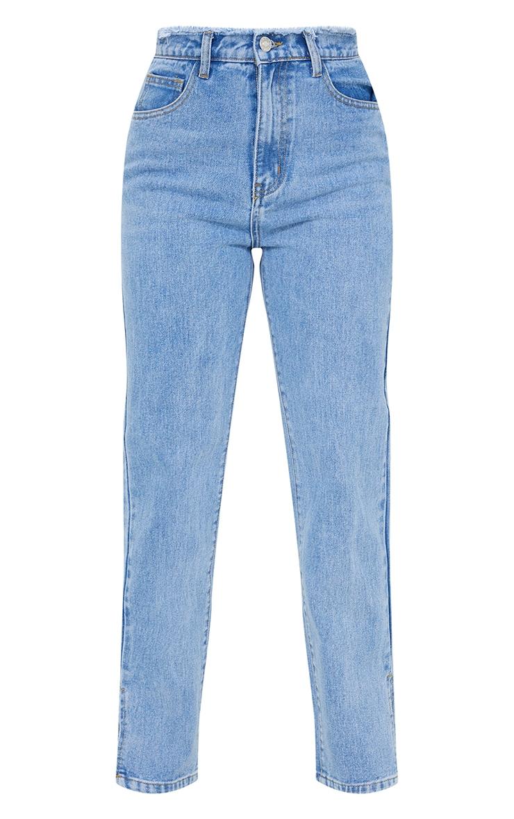 Petite Light Blue Distressed Waistband Split Hem Jeans 5