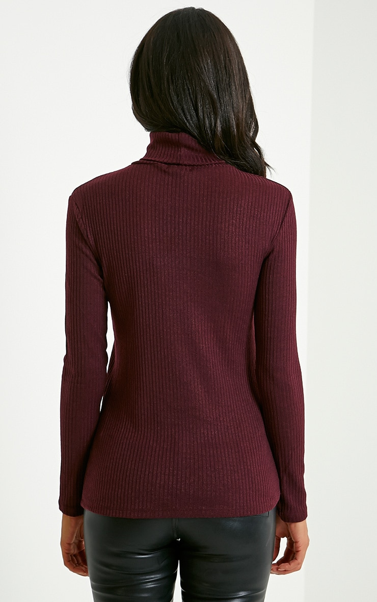 Rica Mulberry Ribbed Roll Neck Top 2