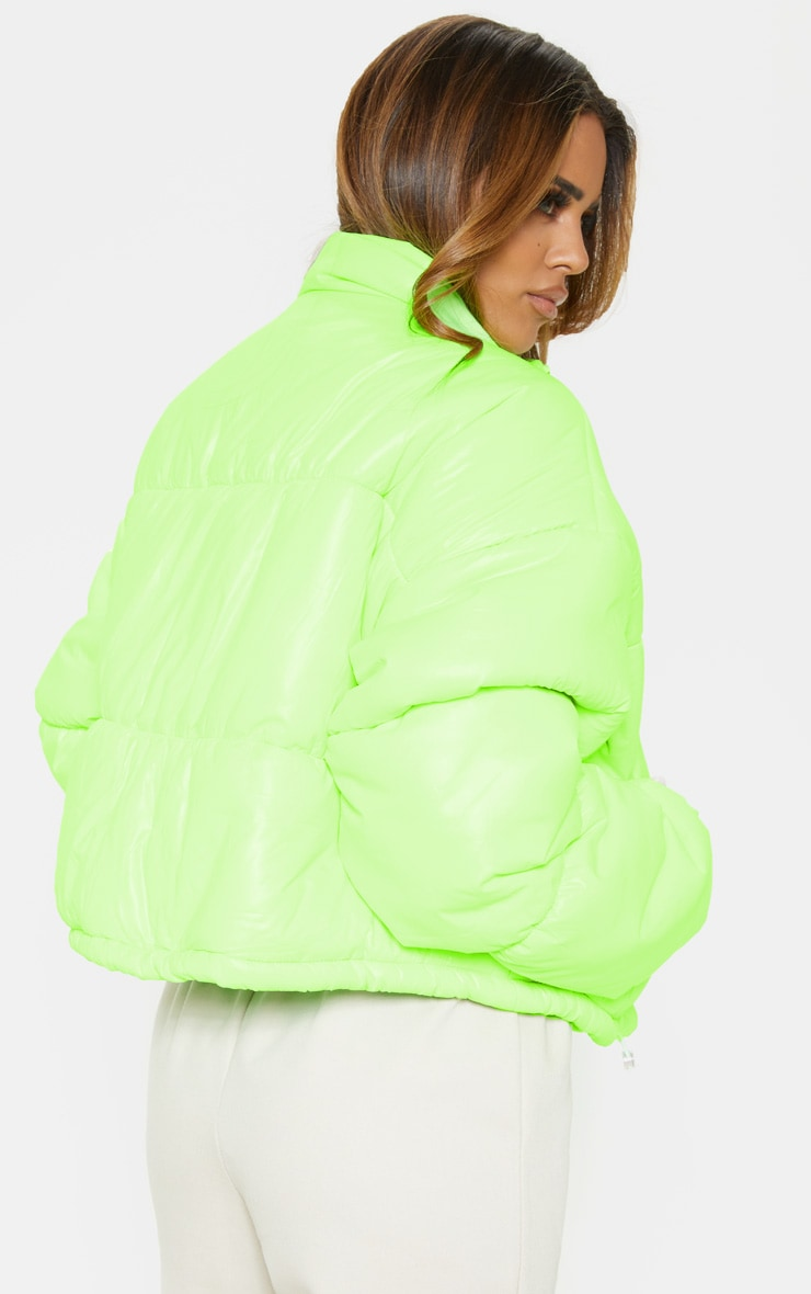 Petite Lime Cropped Neon Puffer Jacket 3