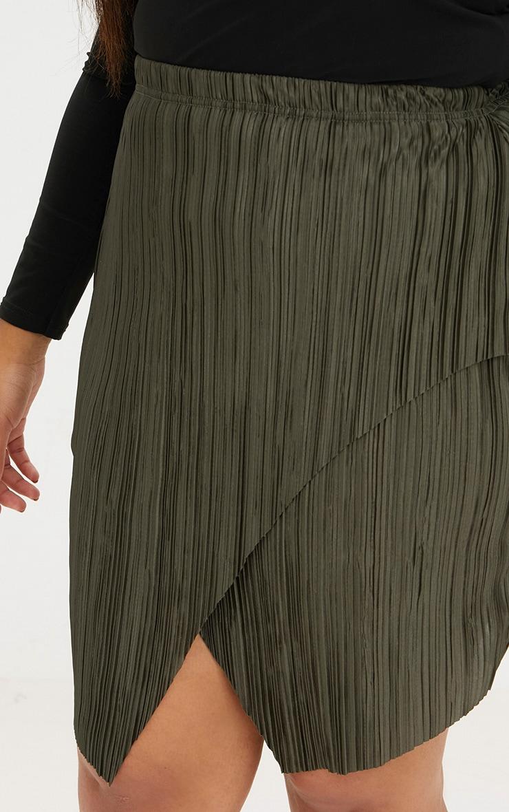 Plus Emerald Green Pleated Wrap Mini Skirt 5