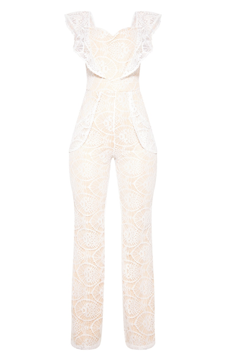White Lace Frill Detail Sweetheart Neckline Jumpsuit 3
