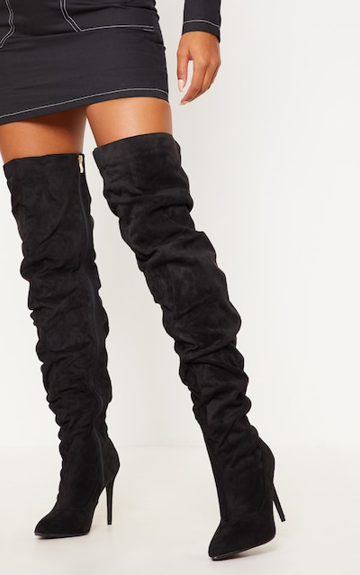f26524f8d2e Black Thigh High Slough Boot