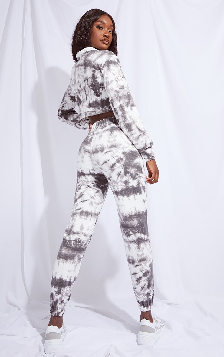 Tall Black Tie Dye Cropped Sweat and Jogger Set 2