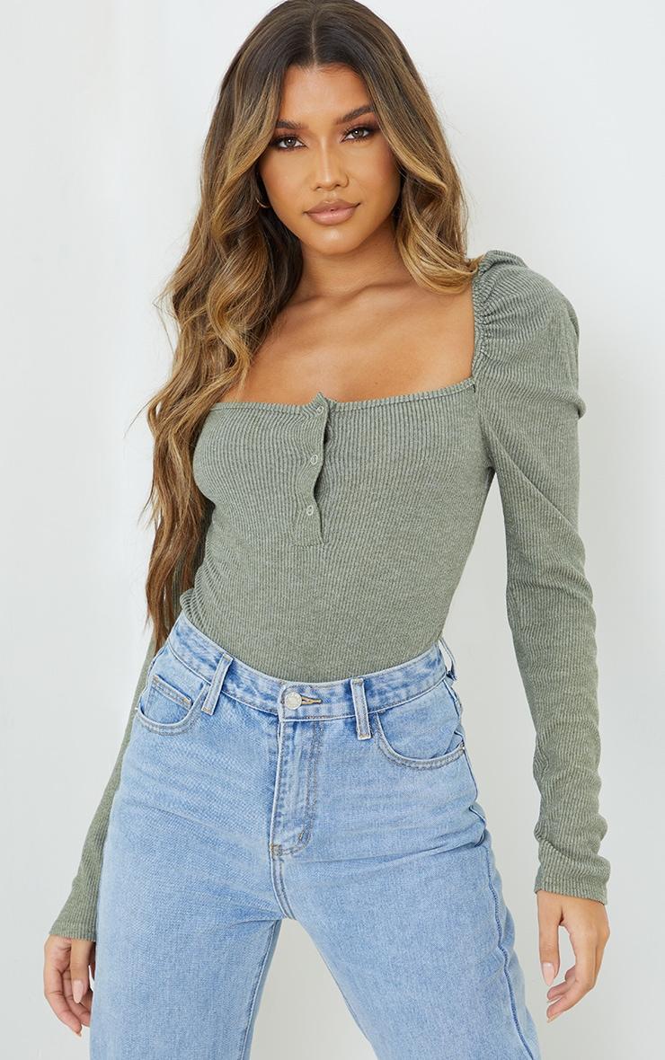 Khaki Marl Rib Puff Long Sleeve Bodysuit 1
