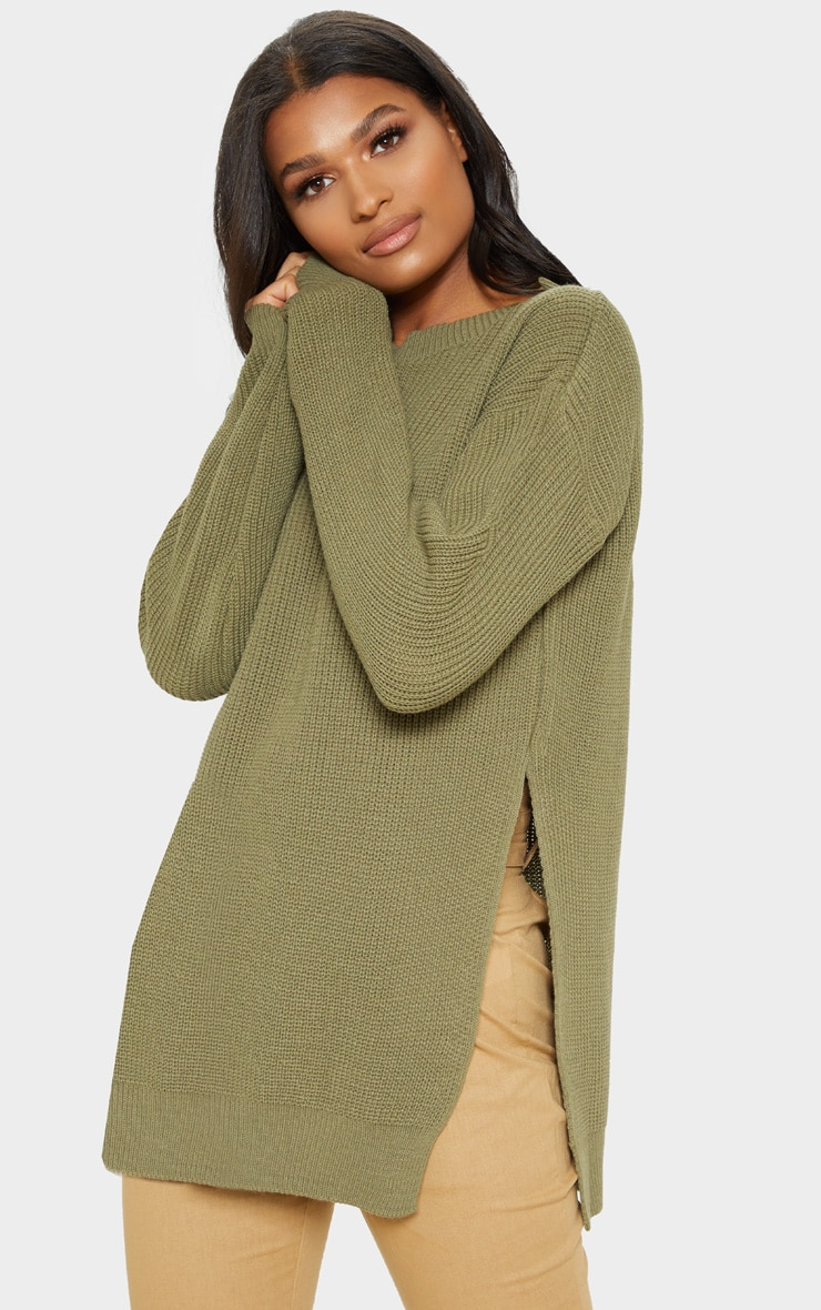 Rexx Khaki Round Neck Side Split Sweater 1