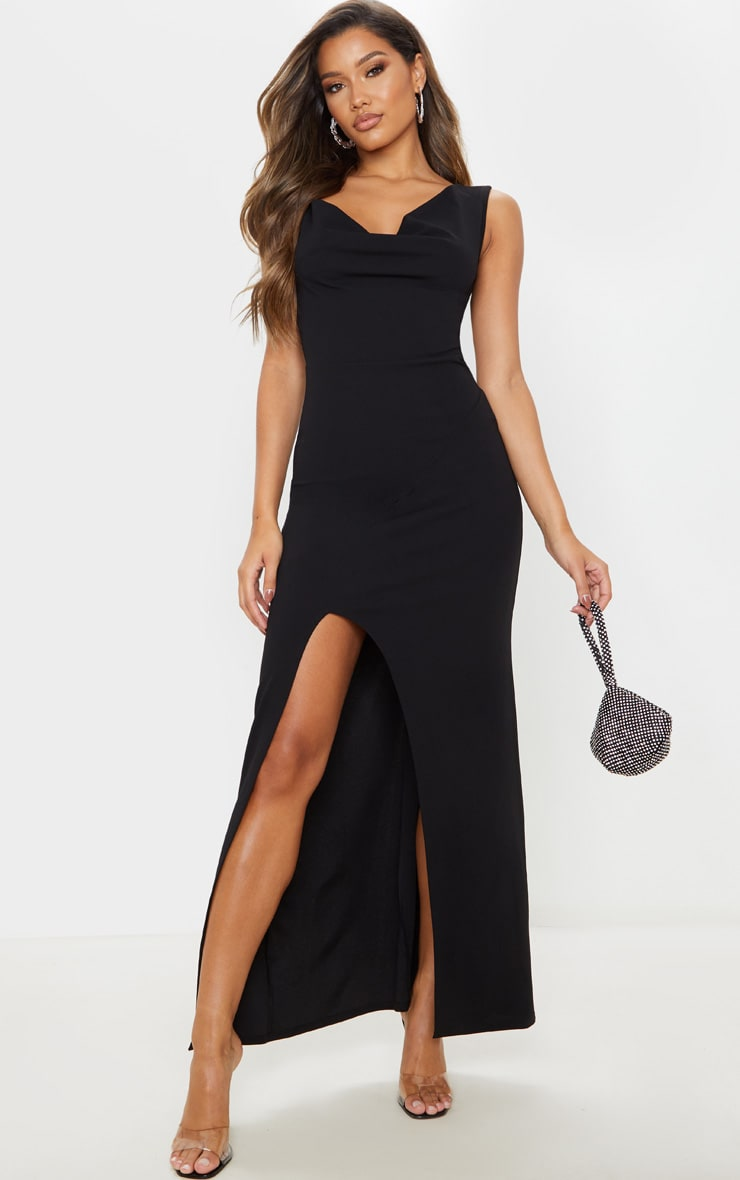 Black Asymmetric Cowl Neck Maxi Dress 4