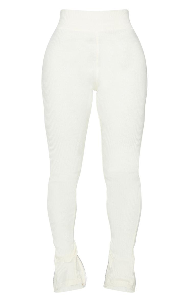 Shape Cream Rib Zip Hem Leggings 5