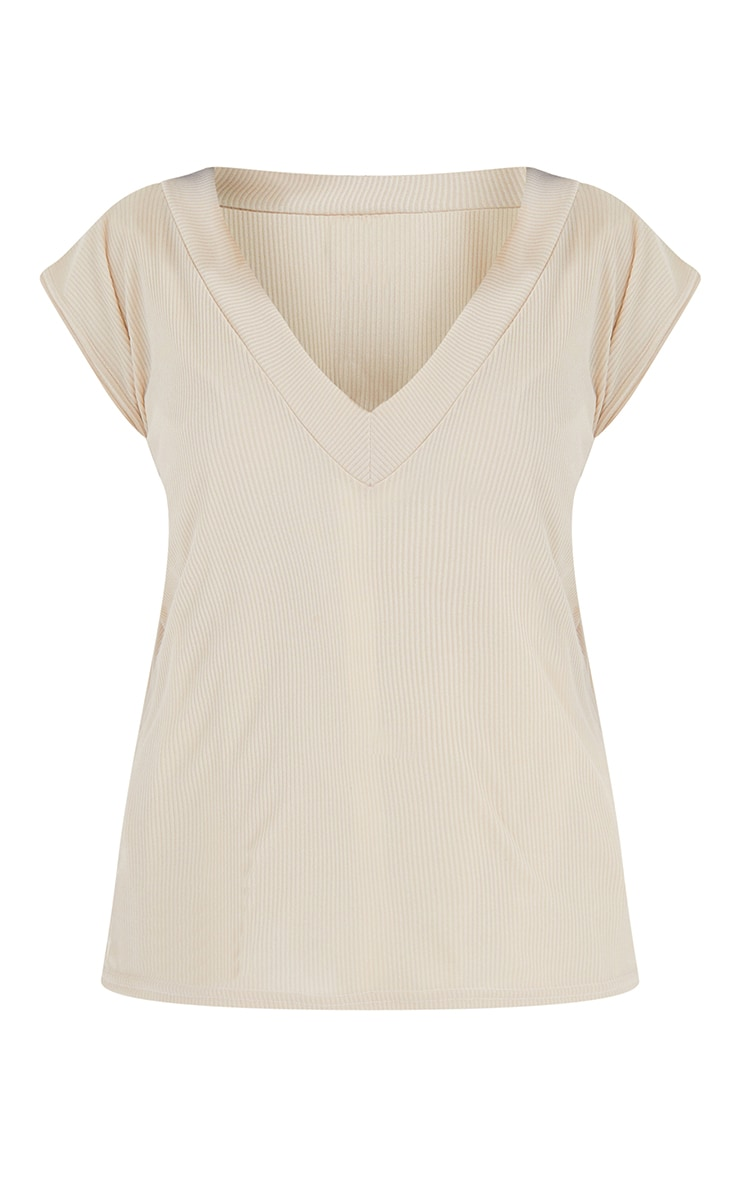 Oatmeal Ribbed V Neck Sleeveless Oversized Vest 5